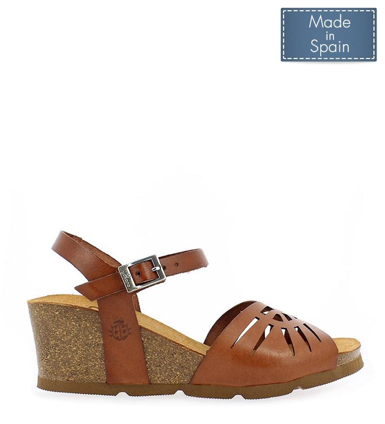 Comprar Yokono Cadiz 097 brown leather sandals - Wedge height: 5,5cm