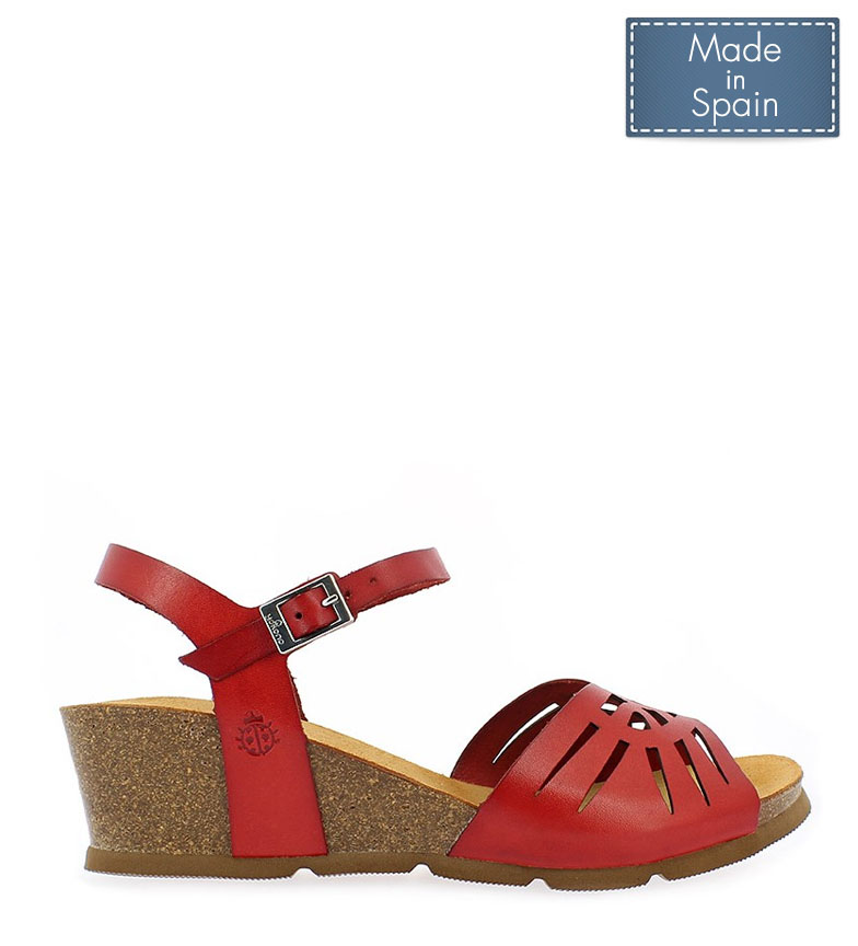 Comprar Yokono Cadiz leather sandals 097 red - Wedge height: 5,5cm