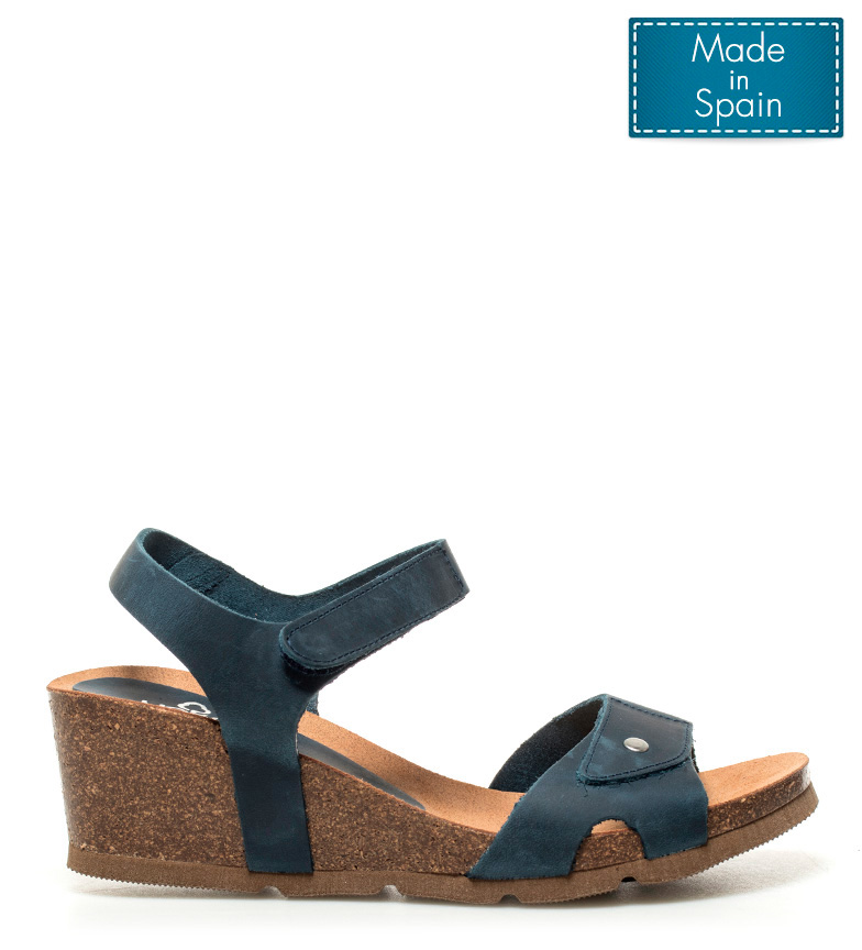 7208757d828 Yokono - Sandalias de piel Cadiz marino -Altura cuña  5