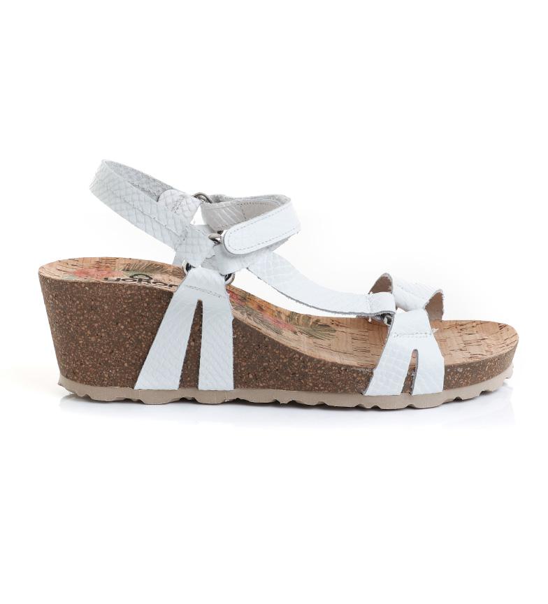 Comprar Yokono Sandálias Calpe 022F em couro branco - 6cm altura da cunha