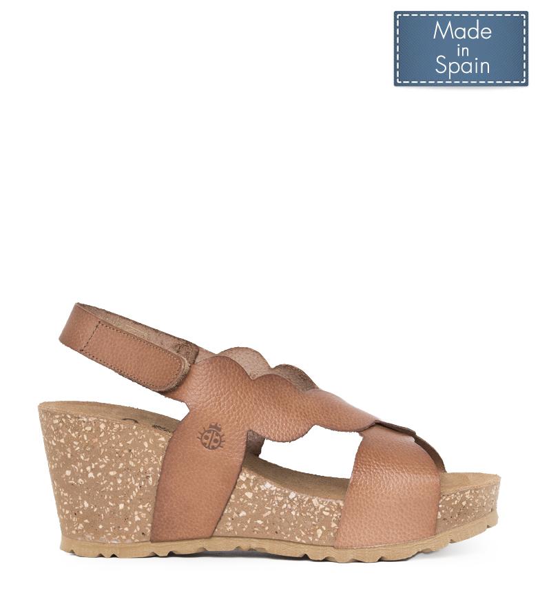 Comprar Yokono Cinnamon 004 brown leather sandals - Wedge height: 8 cm