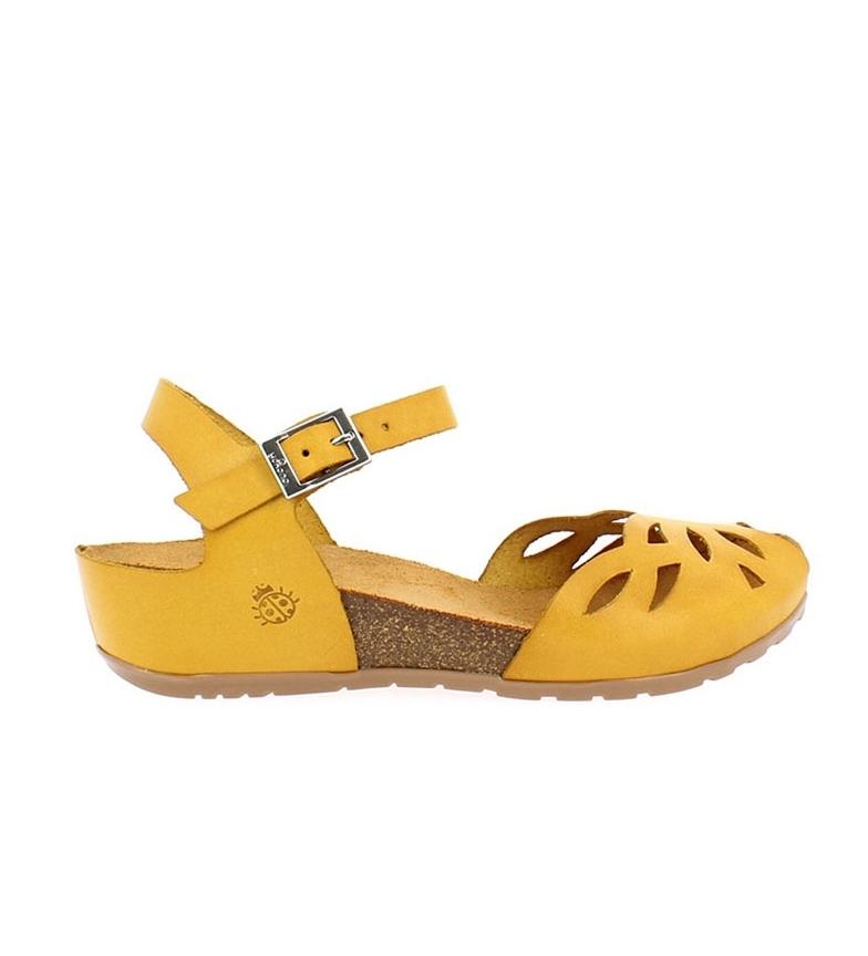 Comprar Yokono Sandalias de piel Capri 003 mostaza -Altura cuña: 4cm-