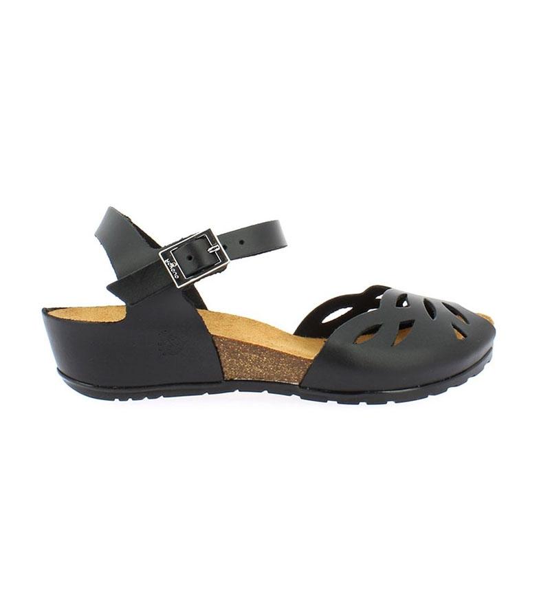 Comprar Yokono Sandalias de piel Capri 003 negro -Altura cuña: 4cm-
