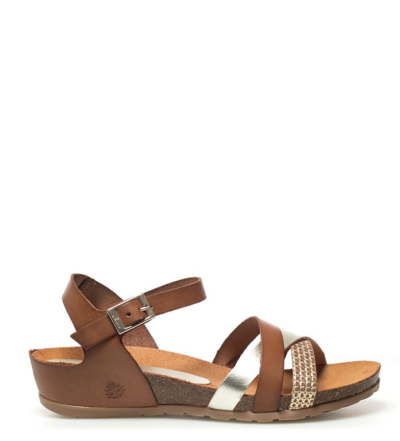 Comprar Yokono Sandalias de piel Capri 006 marrón -Altura cuña: 4cm-