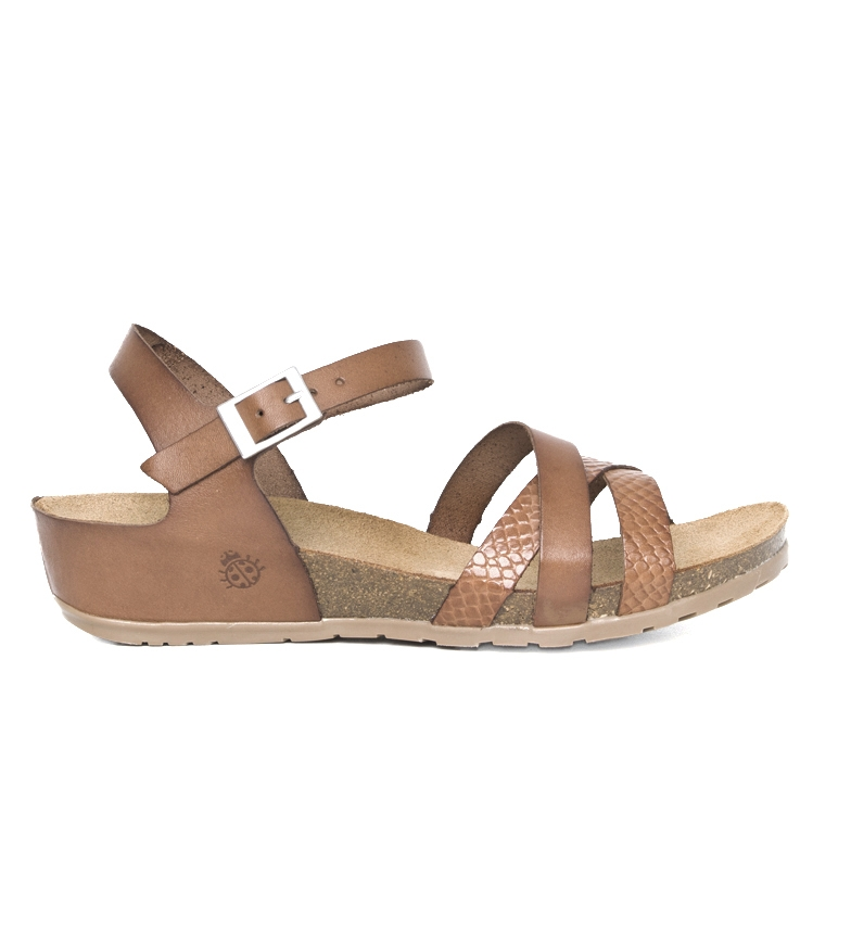 Comprar Yokono Sandali in pelle marrone Capri 006 - Altezza zeppa: 4cm
