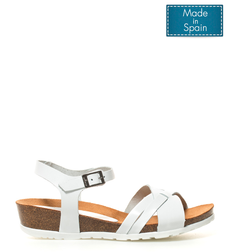 Comprar Yokono Capri leather sandals 041 white - Wedge height: 4cm-