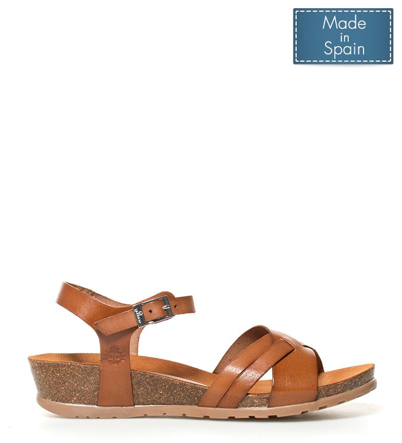 Comprar Yokono Capri leather sandals 041 brown - Wedge height: 4cm-