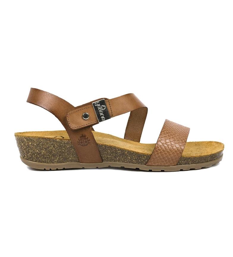 Comprar Yokono Capri 042 sandálias de couro castanho - Altura da cunha: 4cm
