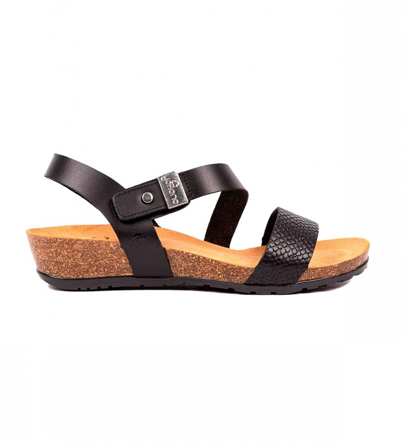 Comprar Yokono Capri 042 sandálias de couro preto - altura da cunha: 4cm