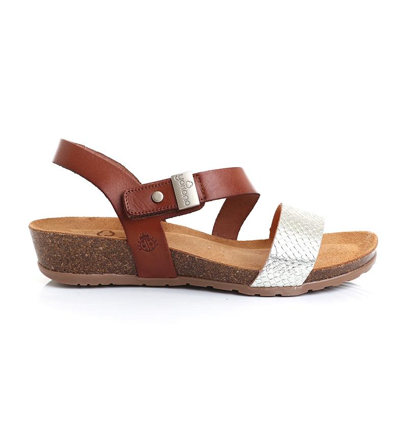 Comprar Yokono Sandálias de couro Capri 042 prateado, castanho