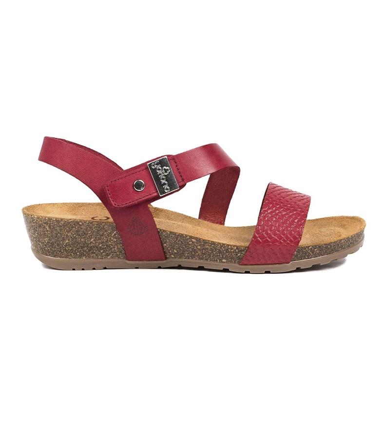 Comprar Yokono Red Capri 042 leather sandals - Wedge height: 4cm