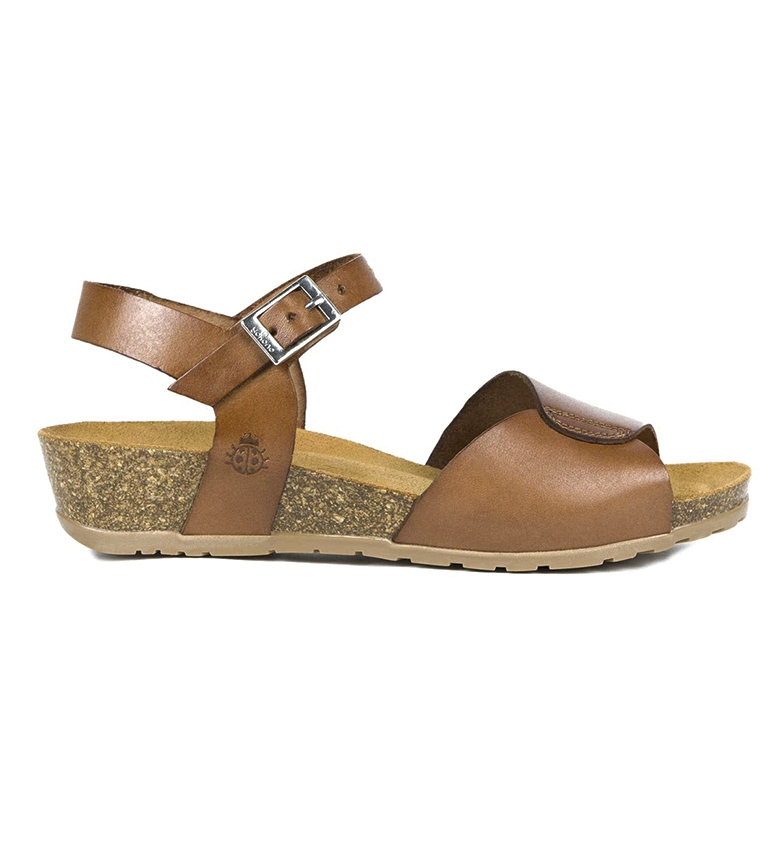 Comprar Yokono Capri 066 brown leather sandals - Wedge height: 4cm