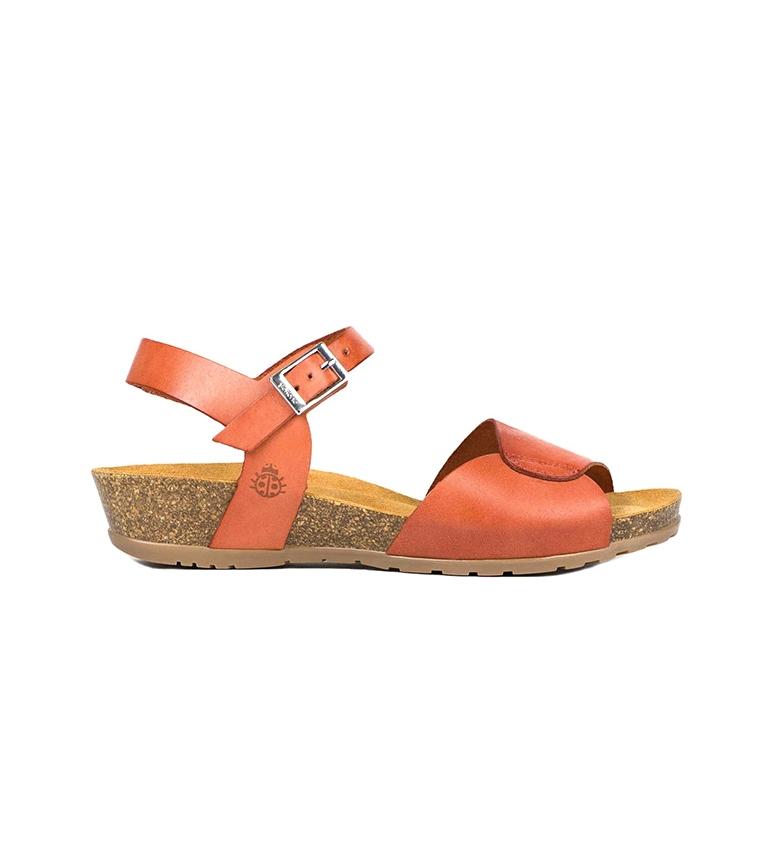 Comprar Yokono Sandali in pelle arancione Capri 066 - Altezza zeppa: 4cm