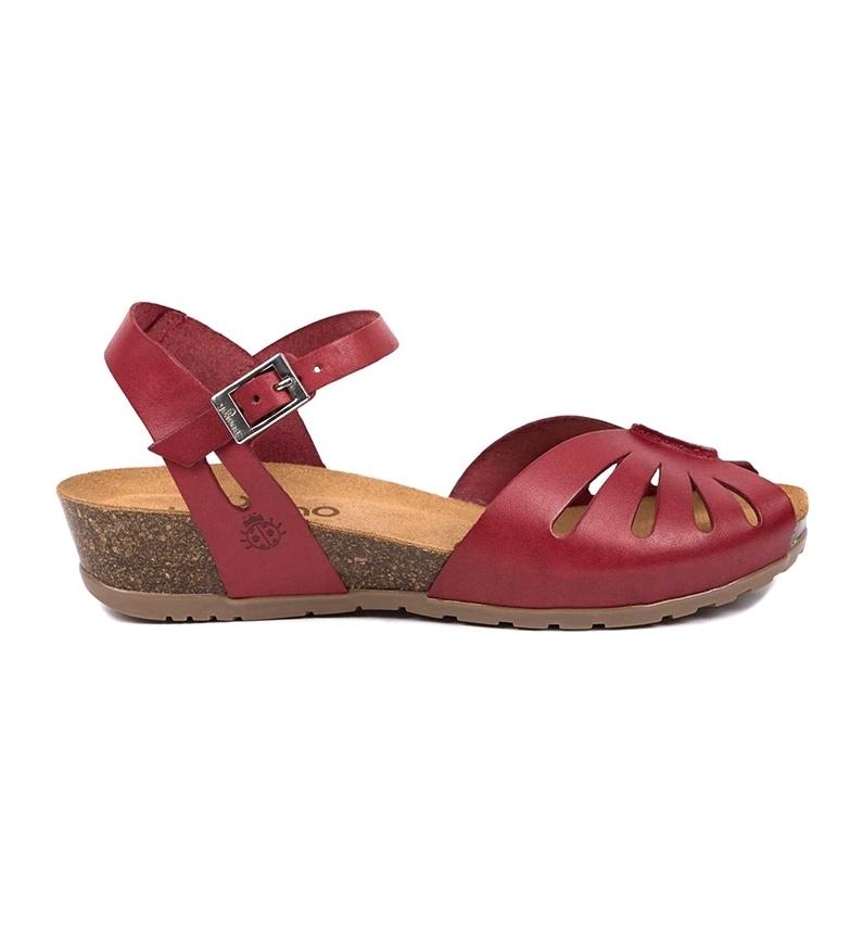 Comprar Yokono Leather sandals Capri 071 burgundy -Height wedge: 4 cm