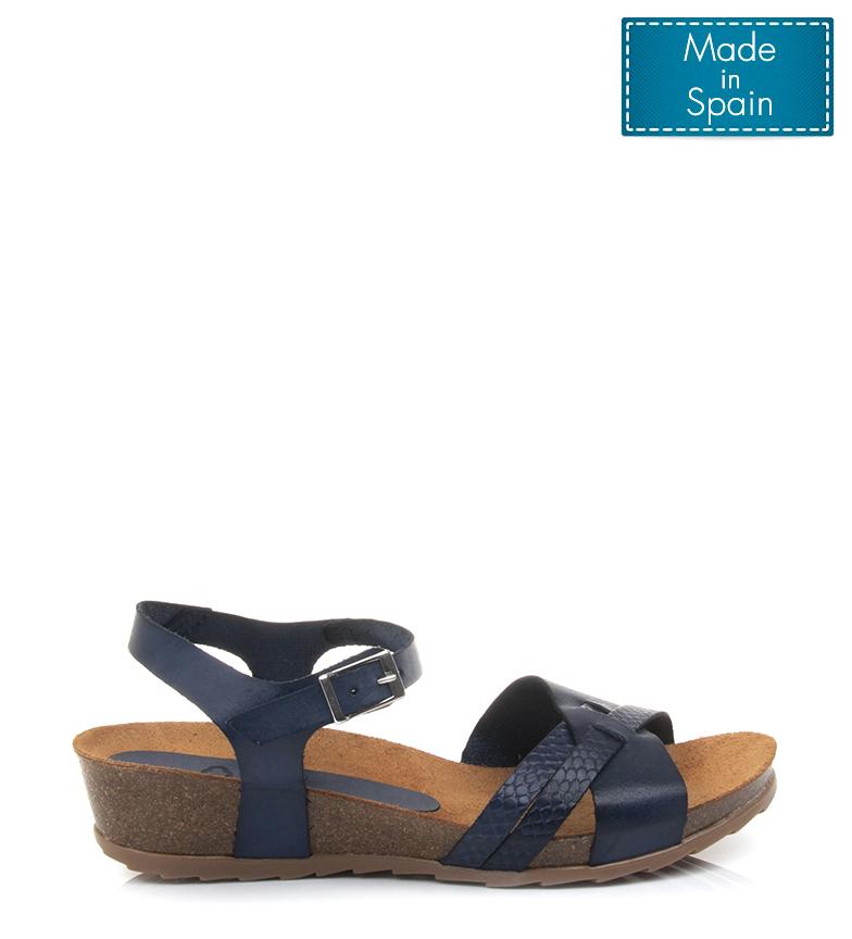 A Yokono Piel Marino Cuña4cm Sandalias De 3 Azul Detalles Capri Altura Mujerchica I76Ybfgyv