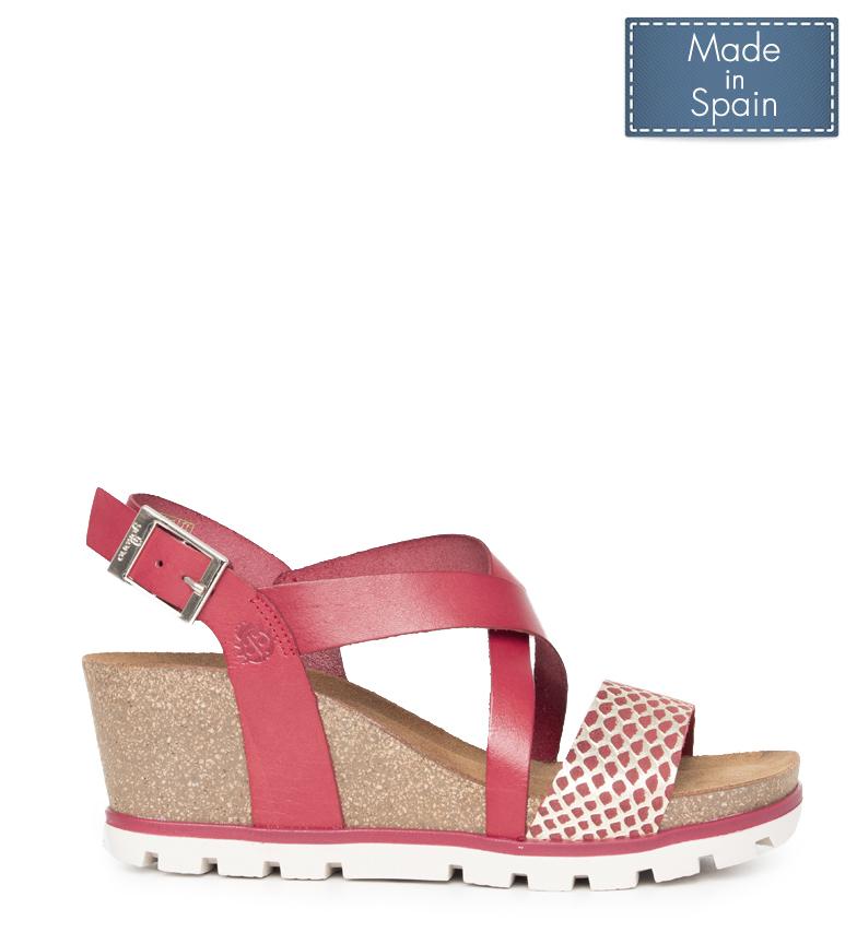 Comprar Yokono Mavile leather sandals 005 red - Wedge height: 7cm